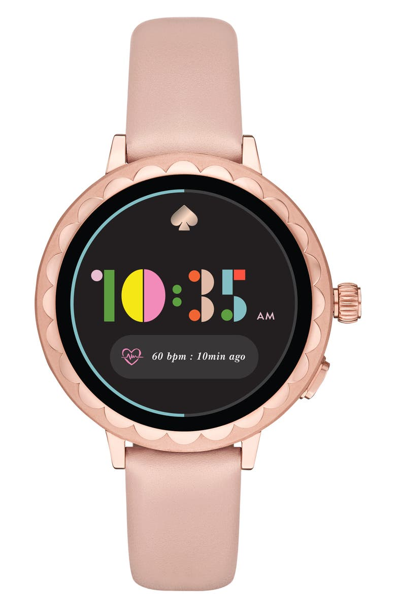 KATE SPADE NEW YORK raven scallop leather strap smart watch, 42mm, Main, color, BLUSH/ BLACK/ ROSE GOLD