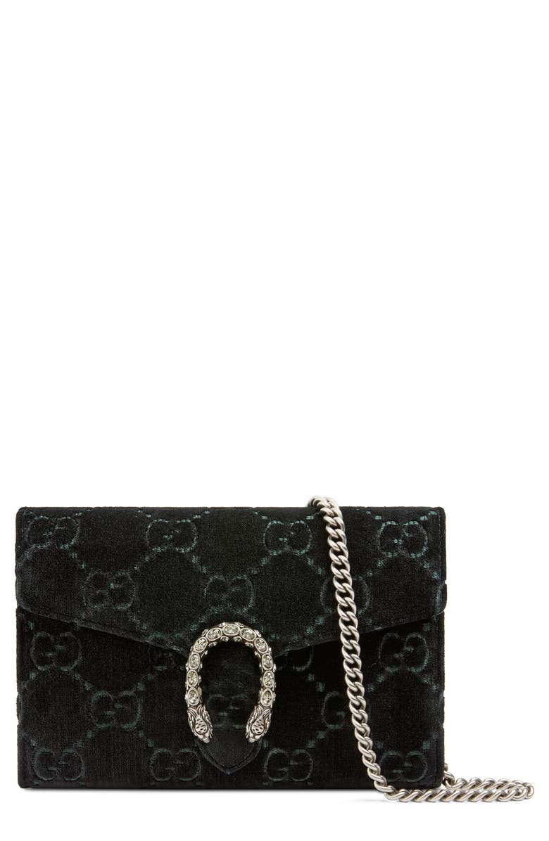 GUCCI Velvet Wallet on a Chain, Main, color, 001