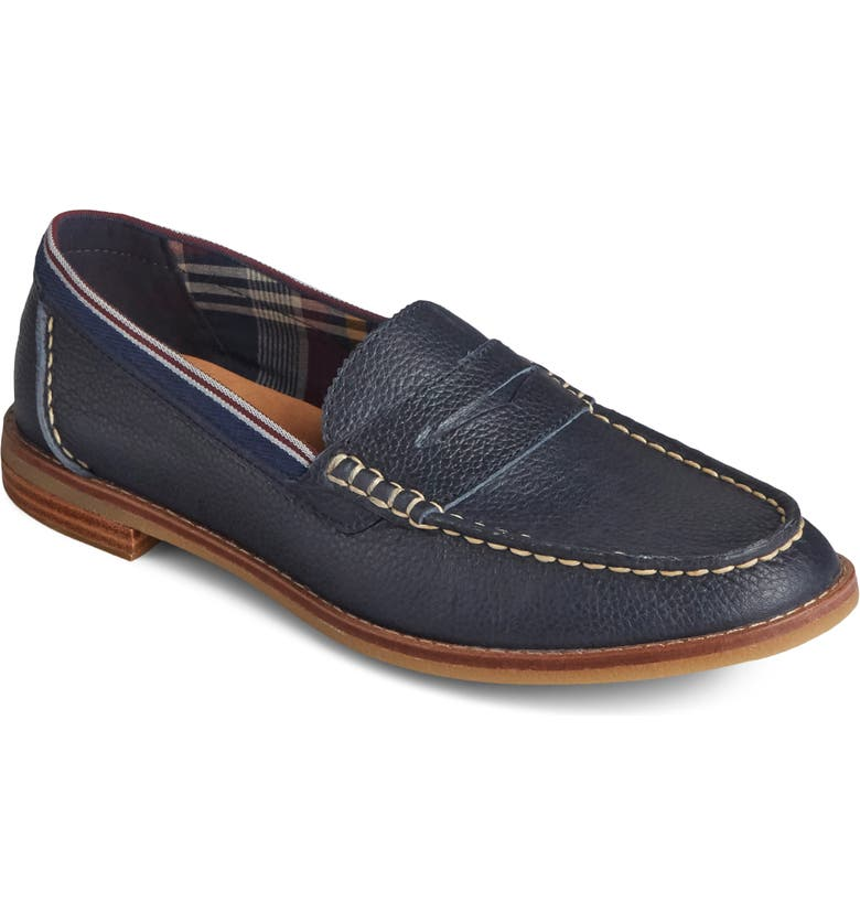 SPERRY Seaport Penny Loafer, Main, color, NAVY TUMBLED LEATHER