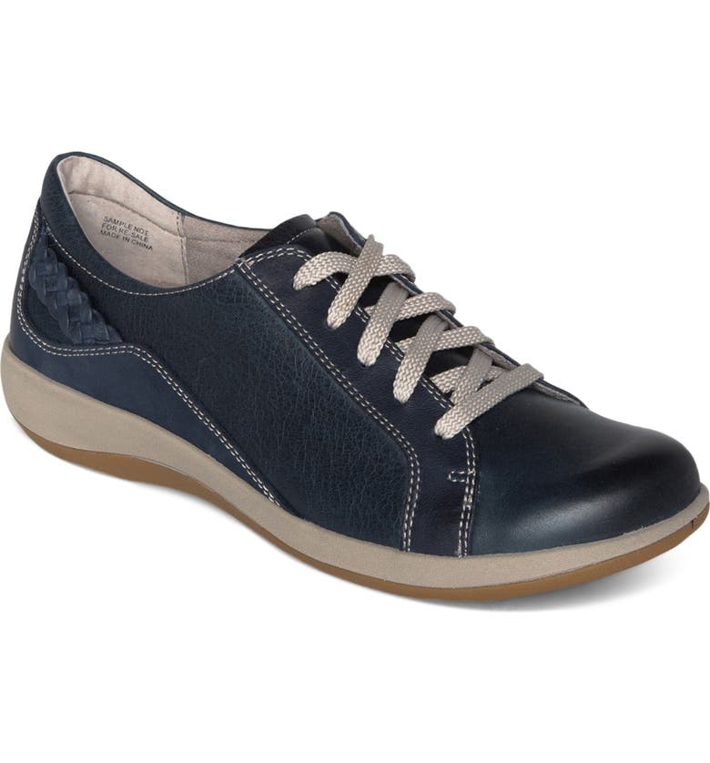 AETREX Dana Lace-Up Oxford Flat, Main, color, NAVY LEATHER
