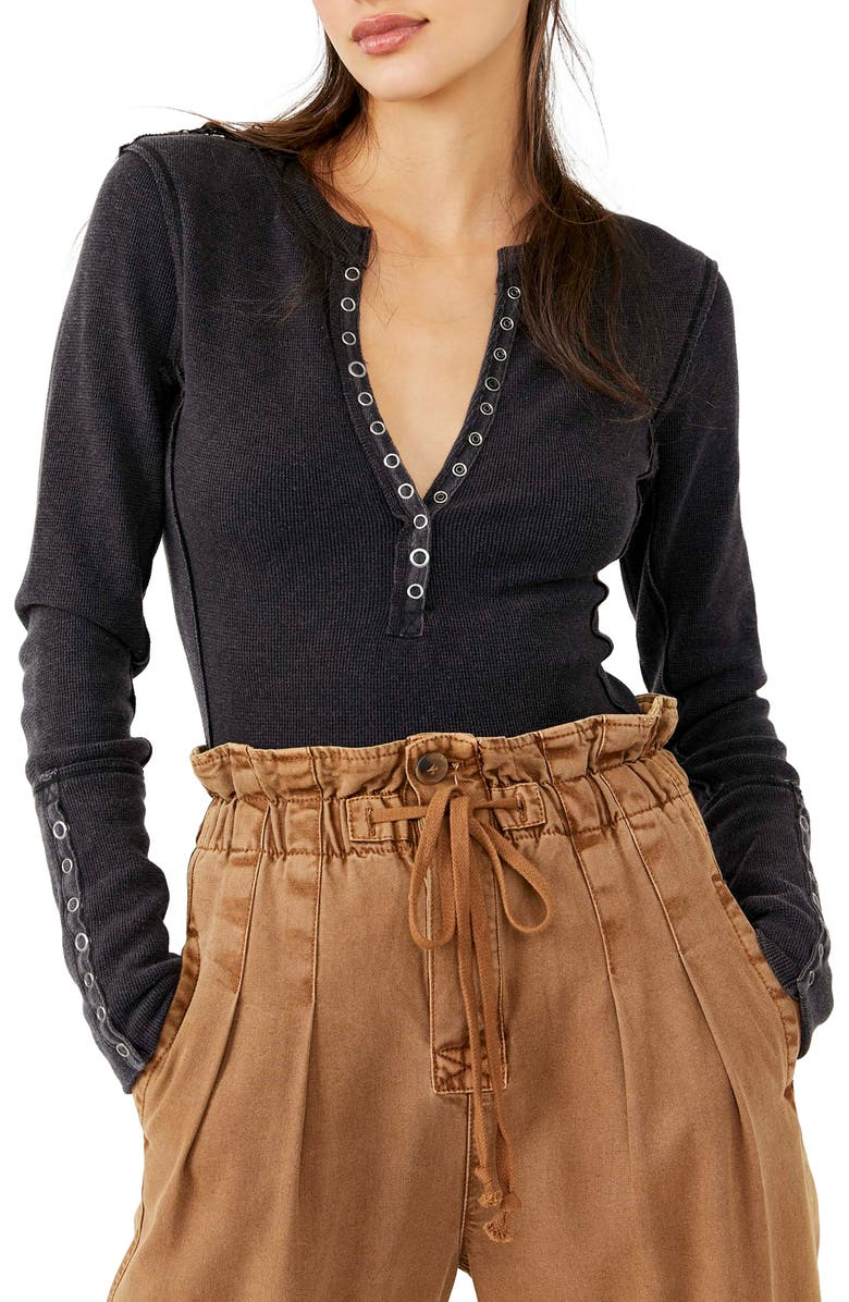 FREE PEOPLE Nailed It Henley Top, Main, color, BLACK