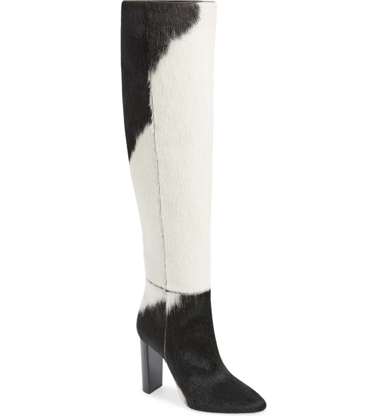 SAINT LAURENT Soixante Seize Genuine Calf Hair Over the Knee Boot, Main, color, 015