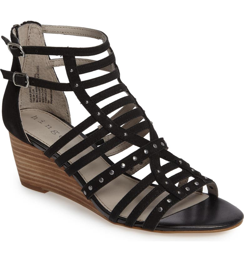 HINGE Nolan Strappy Wedge Sandal, Main, color, 001