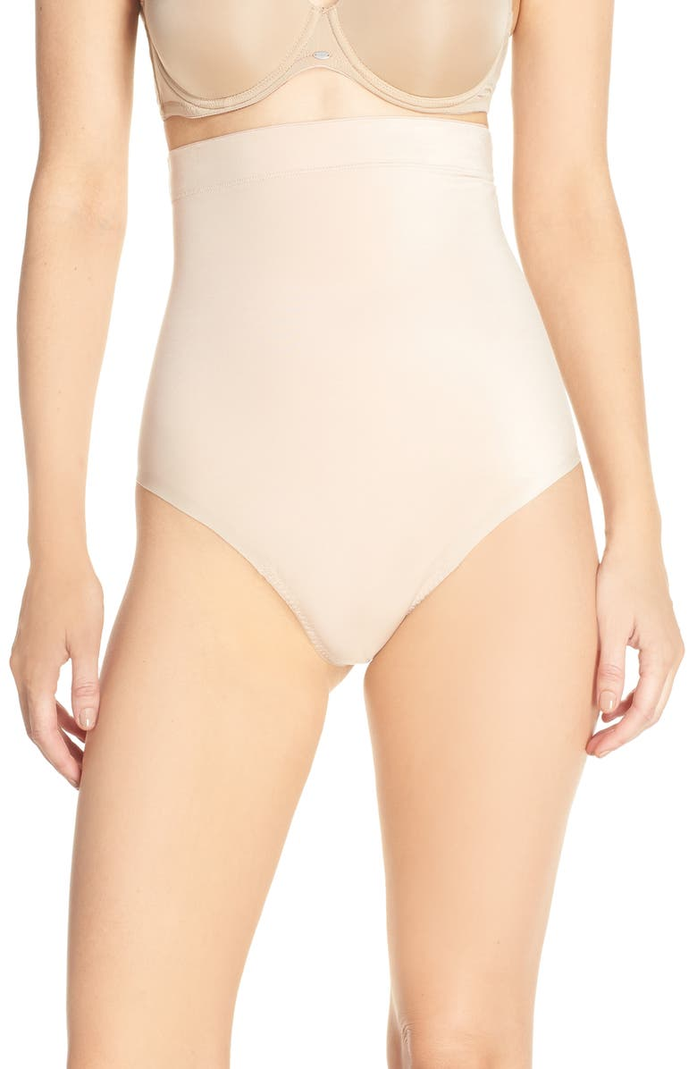 SPANX<SUP>®</SUP> Suit Your Fancy High Waist Thong, Main, color, CHAMPAGNE BEIGE