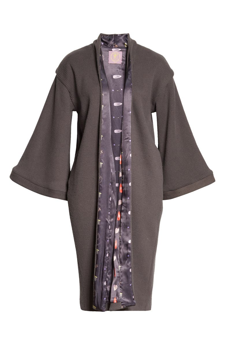 BEPHIES BEAUTY SUPPLY Reversible Terry Robe, Main, color, CHARCOAL/ BEAUTY SUPPLY
