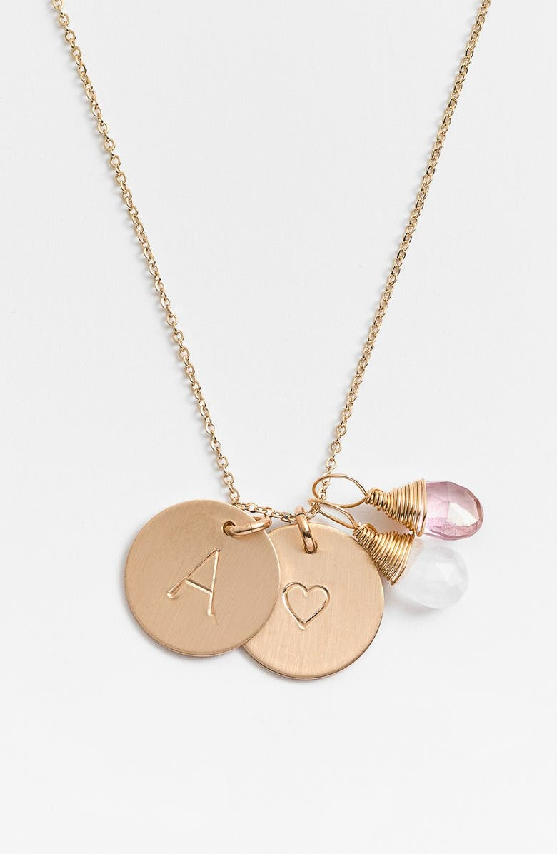 NASHELLE 14k-Gold Fill Heart Disc, Moonstone & Pink Quartz Initial Necklace, Main, color, MOONSTONE AND PINK A