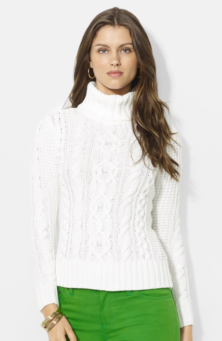 LAUREN RALPH LAUREN Cable Knit  Cotton Blend Turtleneck Sweater, Main, color, 100