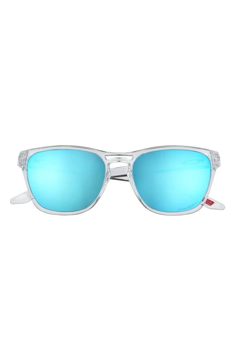 OAKLEY Manorburn 56mm Square Sunglasses, Main, color, POLISHED CLEAR/ PRIZM SAPPHIRE