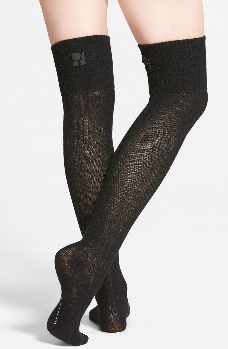 KATE SPADE NEW YORK bow detail ribbed over the knee socks, Main, color, 001