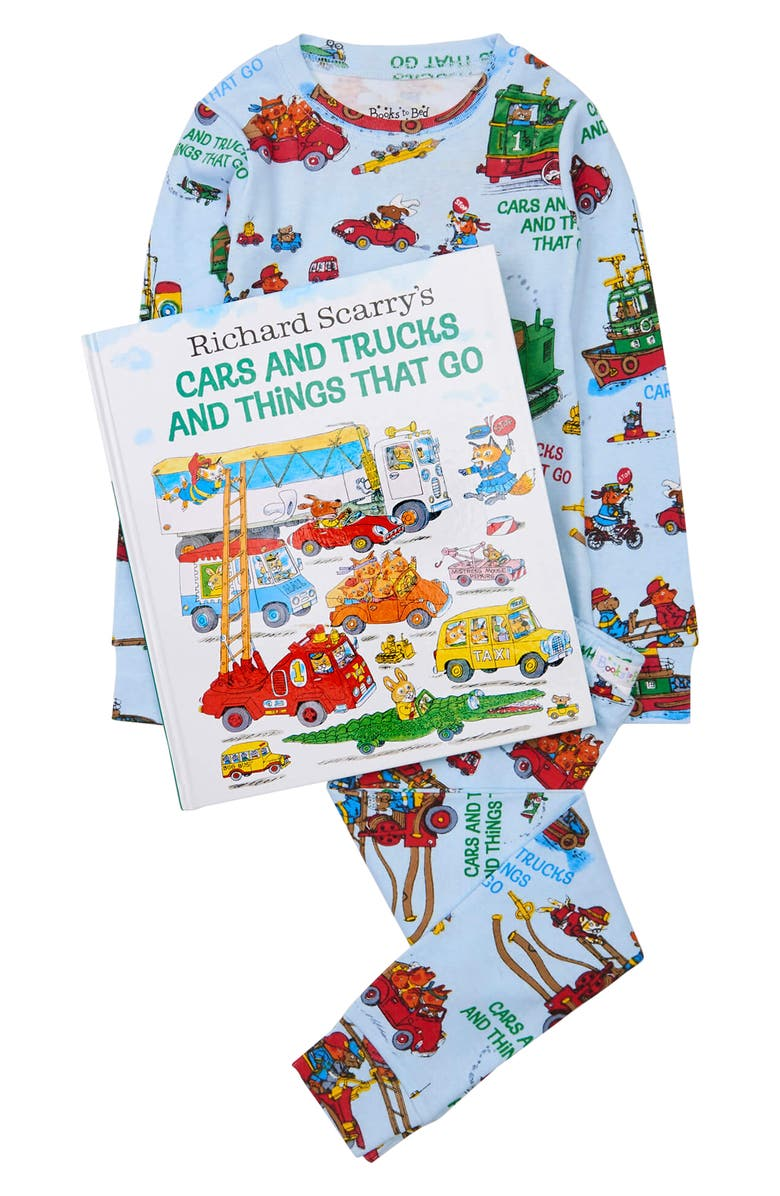BOOKS TO BED Hatley x Books to Bed Kids' 'Richard Scarry's Cars & Trucks & Things That Go' Book & Fitted Two-Piece Pajamas Set, Main, color, Blue