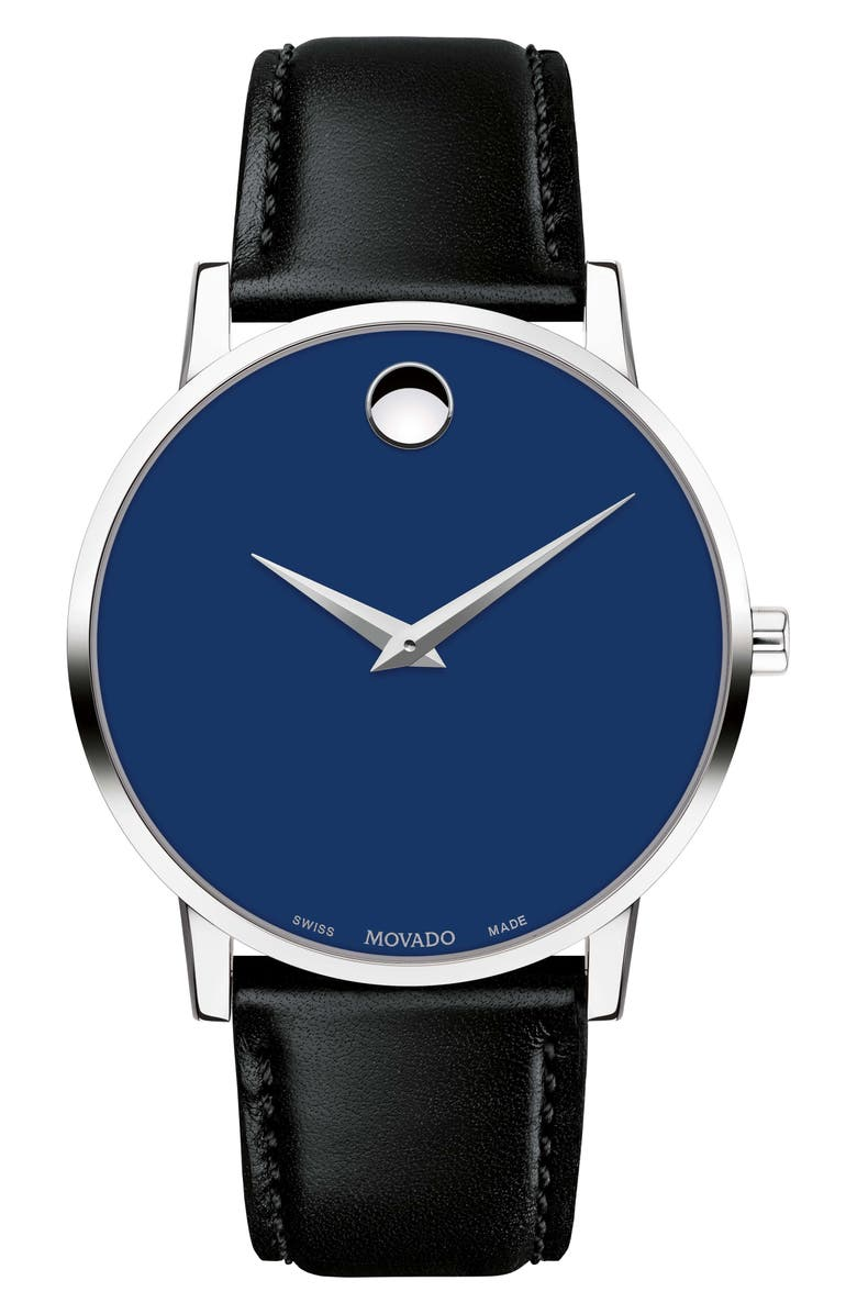 MOVADO Leather Strap Watch, 40mm, Main, color, BLACK/ BLUE/ SILVER