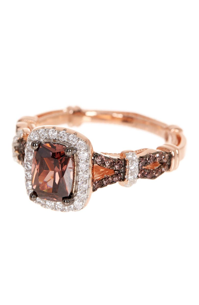 SUZY LEVIAN Pink Rhodium Plated Sterling Silver Brown & White CZ Engagement Ring, Main, color, BROWN