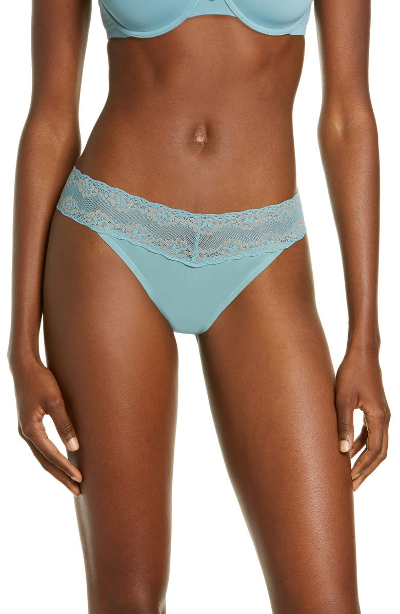 NATORI Bliss Perfection Thong, Main, color, OCEAN BREEZE / CHAISE MAUVE