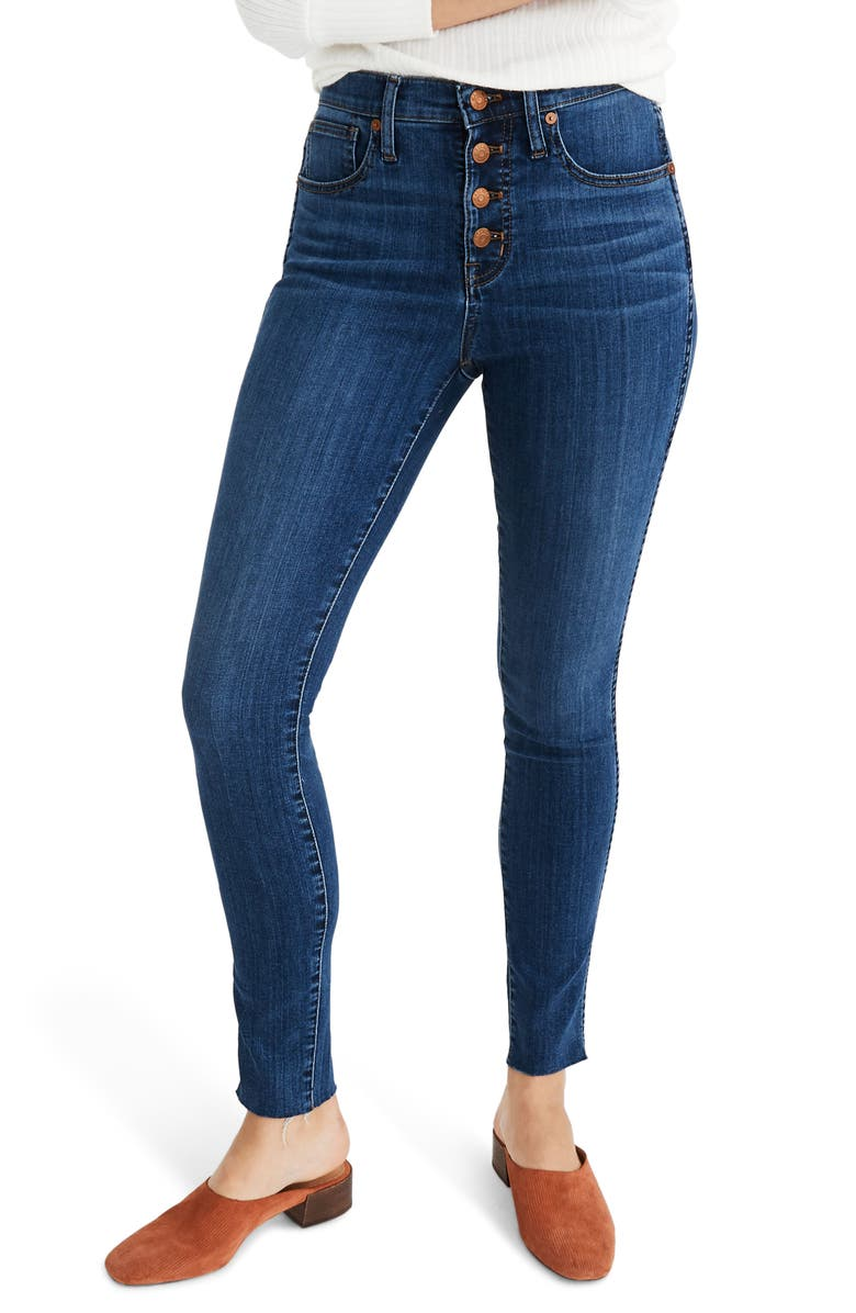 MADEWELL Button Front 10-Inch High Rise Skinny Jeans, Main, color, 400