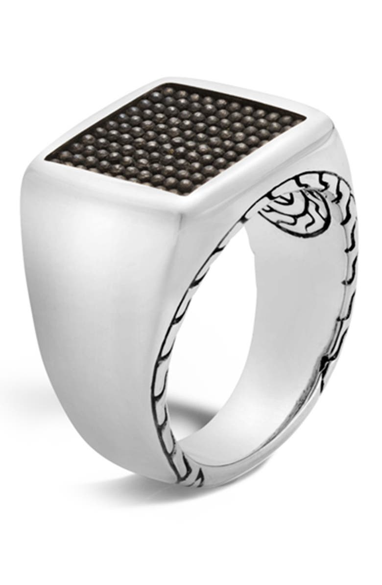 JOHN HARDY Sterling Silver Classic Chain Jawan Signet Ring - Size 10, Main, color, NO COLOR