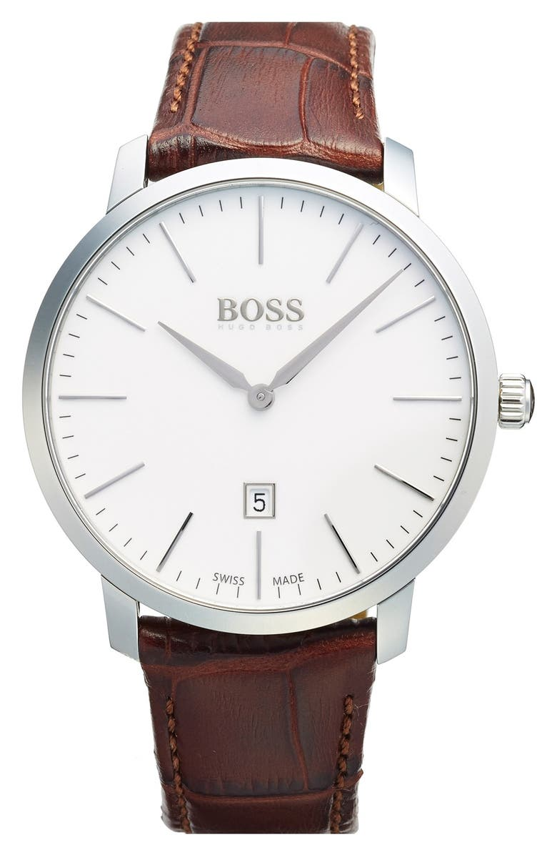 BOSS Swiss Made Leather Strap Watch, 42mm, Main, color, 200