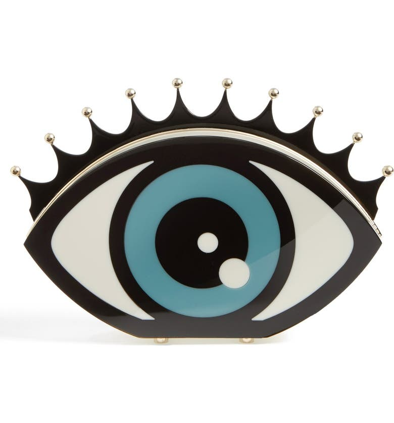 CHARLOTTE OLYMPIA Eye Shaped Clutch, Main, color, 100