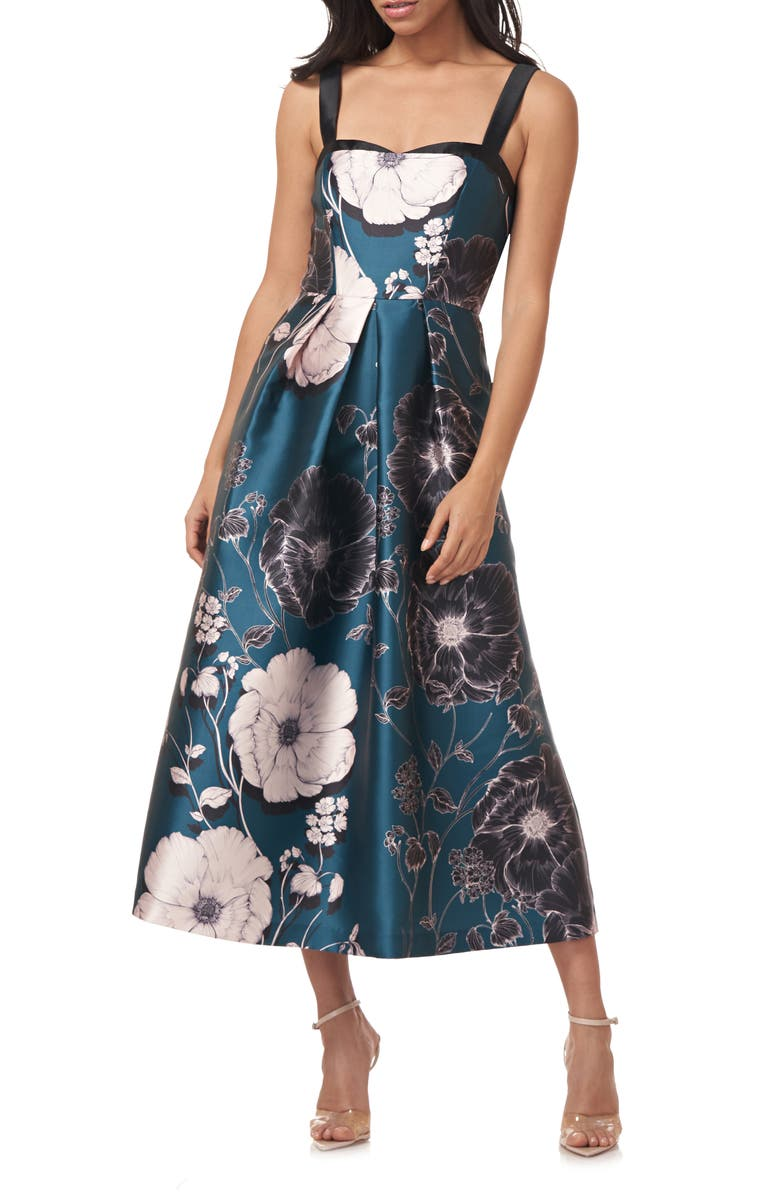 KAY UNGER Floral Print Mikado Midi Cocktail Dress, Main, color, TEAL POPPY FLORAL