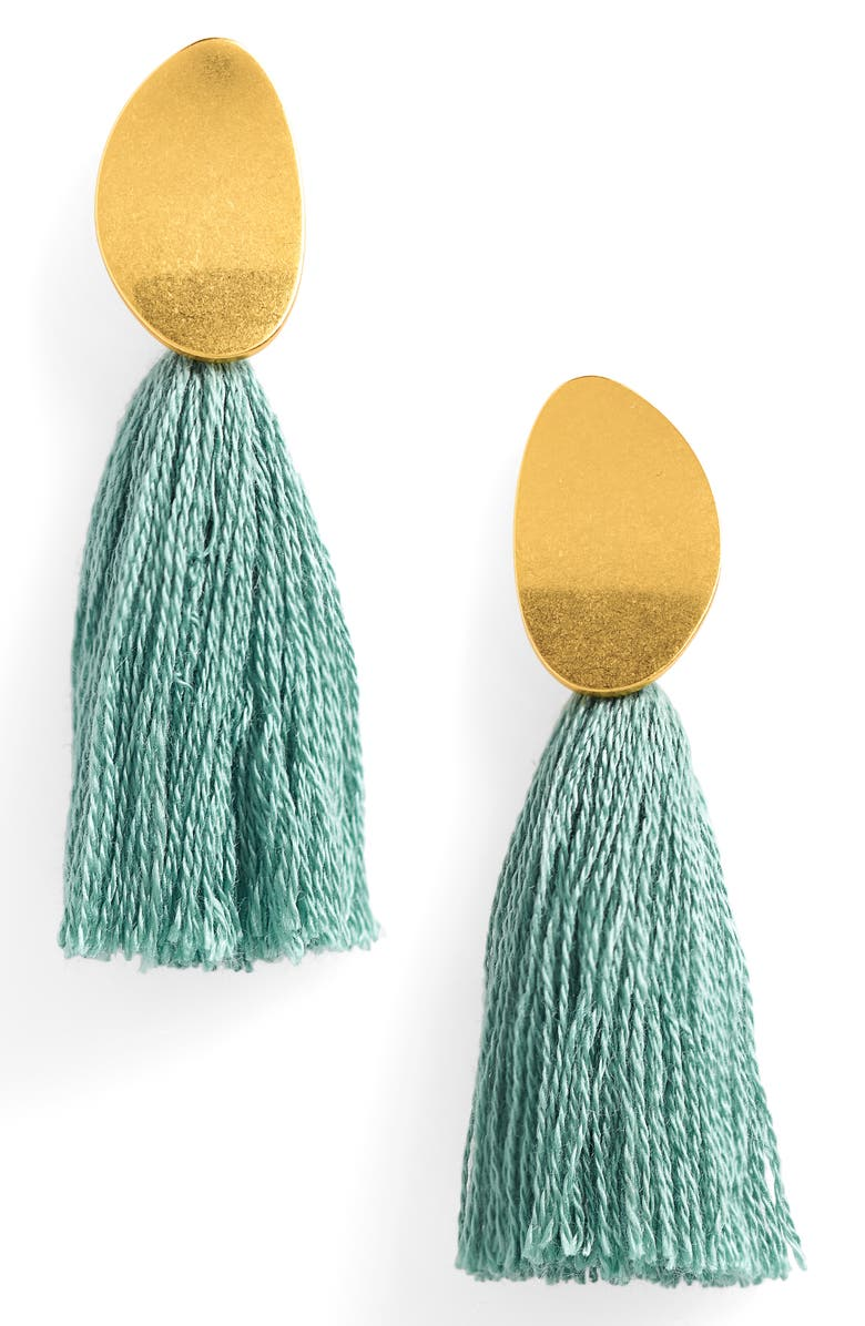 MADEWELL Curved Tassel Earrings, Main, color, PALE EVERGREEN