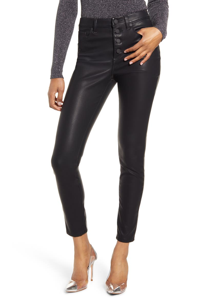 BLANKNYC Faux Leather Button Front Pants, Main, color, 001