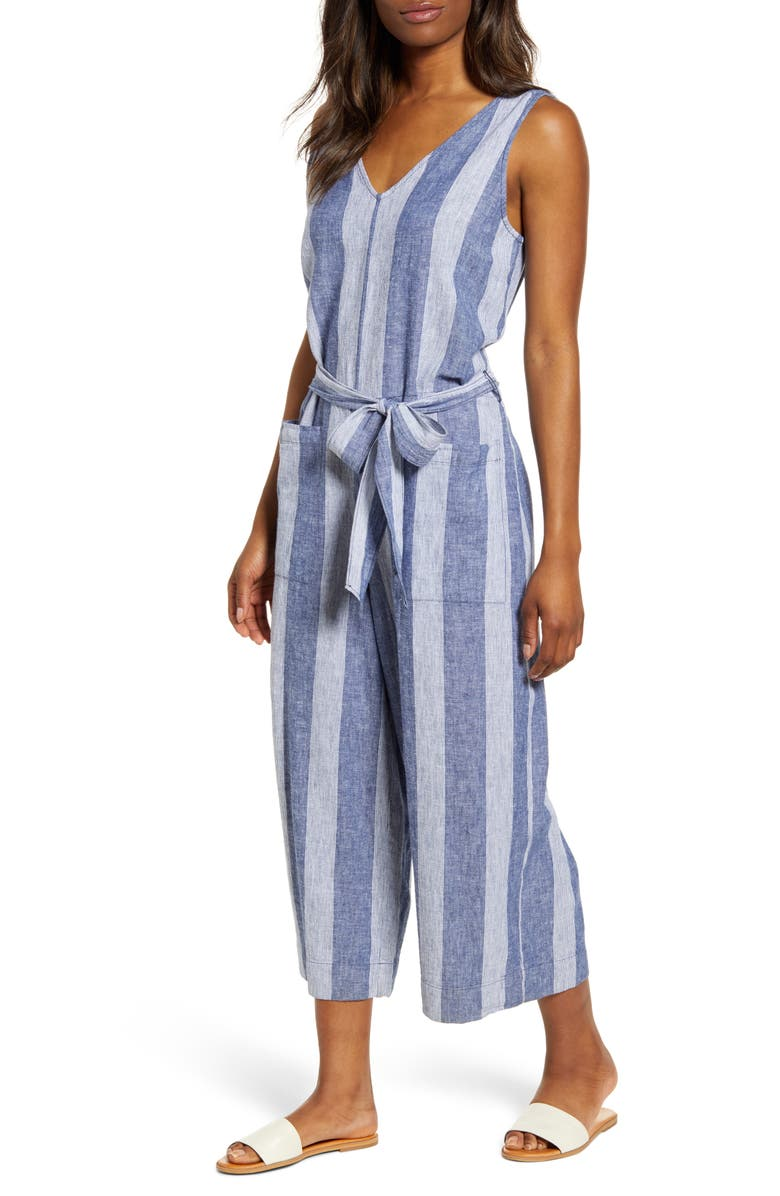 BEACHLUNCHLOUNGE Lennon Tie Waist Linen & Cotton Jumpsuit, Main, color, BARRE CLASS