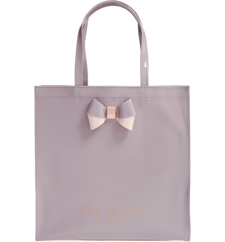 TED BAKER LONDON 'Large Icon - Bow' Tote, Main, color, MID PURPLE