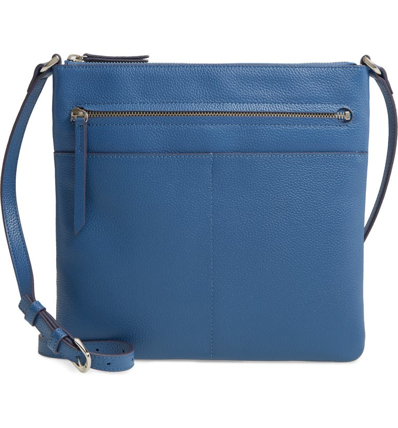 NORDSTROM Phoebe Leather Crossbody Bag, Main, color, BLUE CANAL