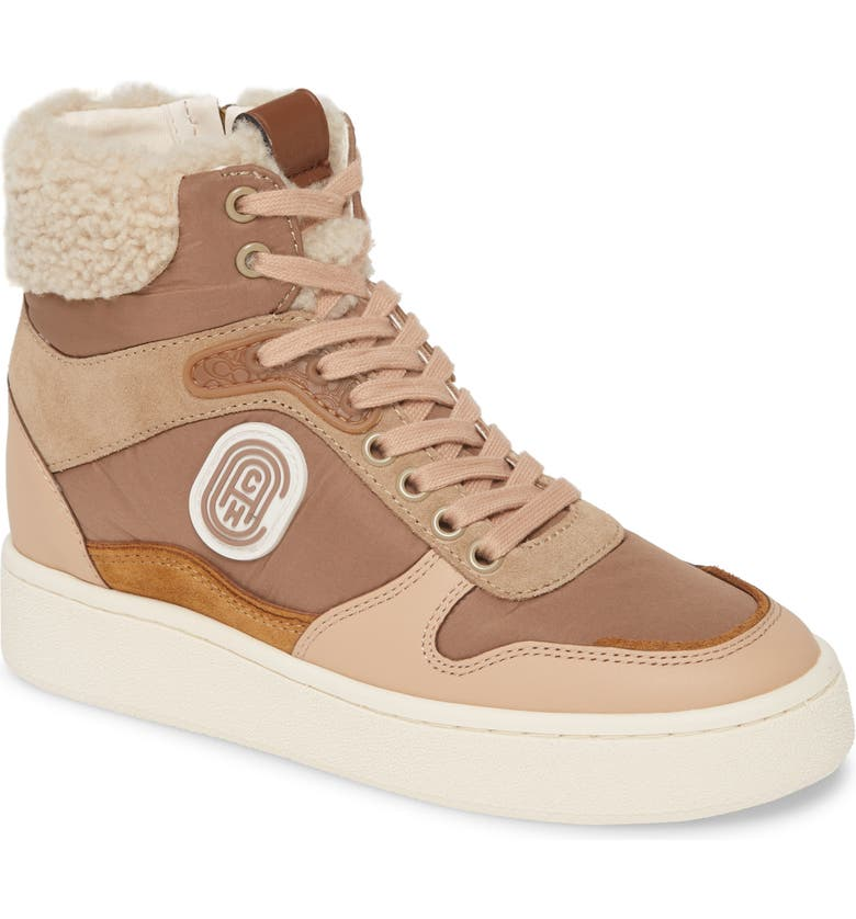 COACH C220 High Top Sneaker with Genuine Shearing Trim, Main, color, 250