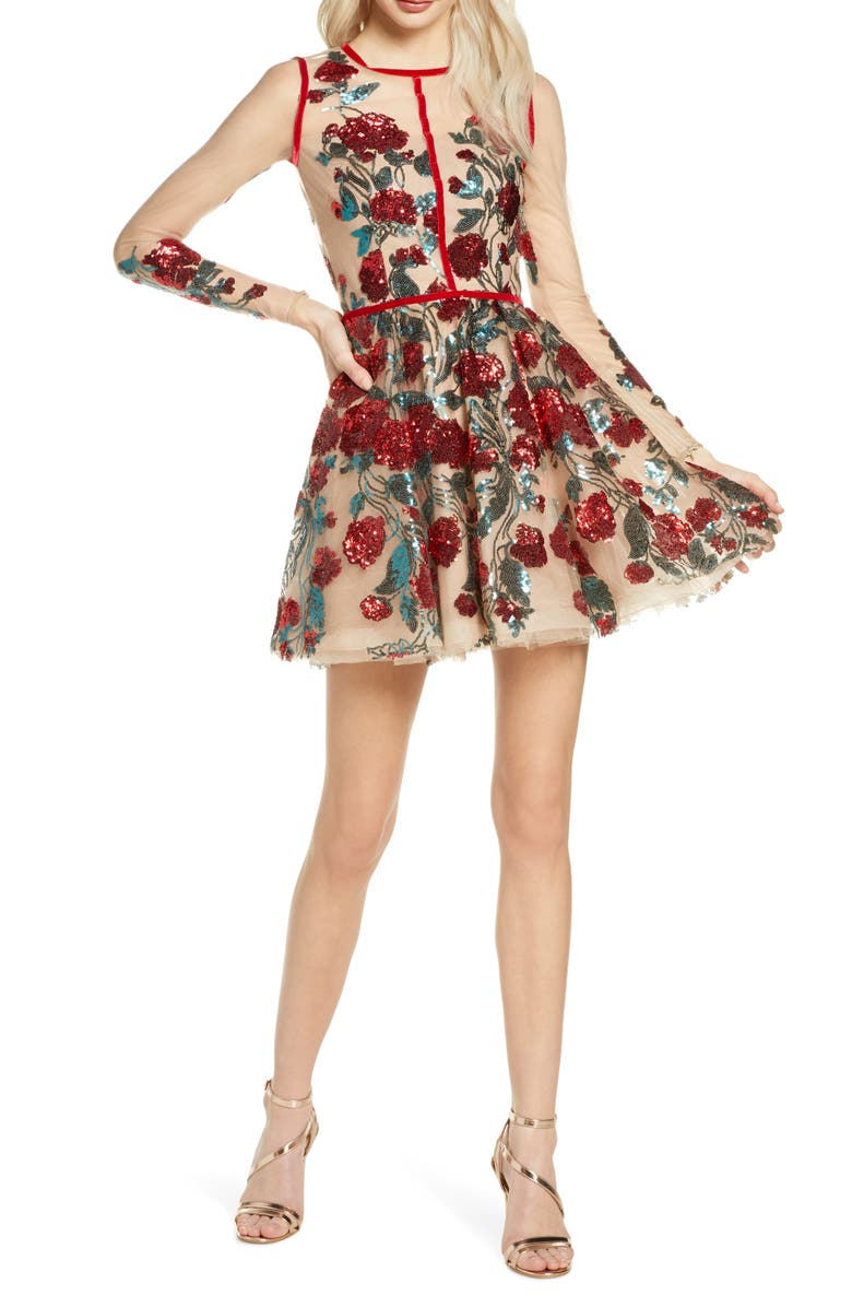 BRONX AND BANCO Rafaella Floral Sequin Long Sleeve Minidress, Main, color, 609