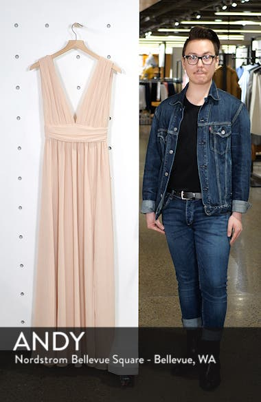Plunging V-Neck Chiffon Gown, sales video thumbnail
