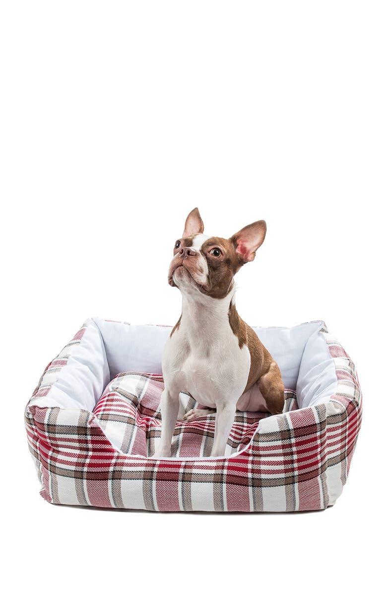 DUCK RIVER TEXTILE White/Red Hadley Small Square Pet Bed, Main, color, WHITE-RED
