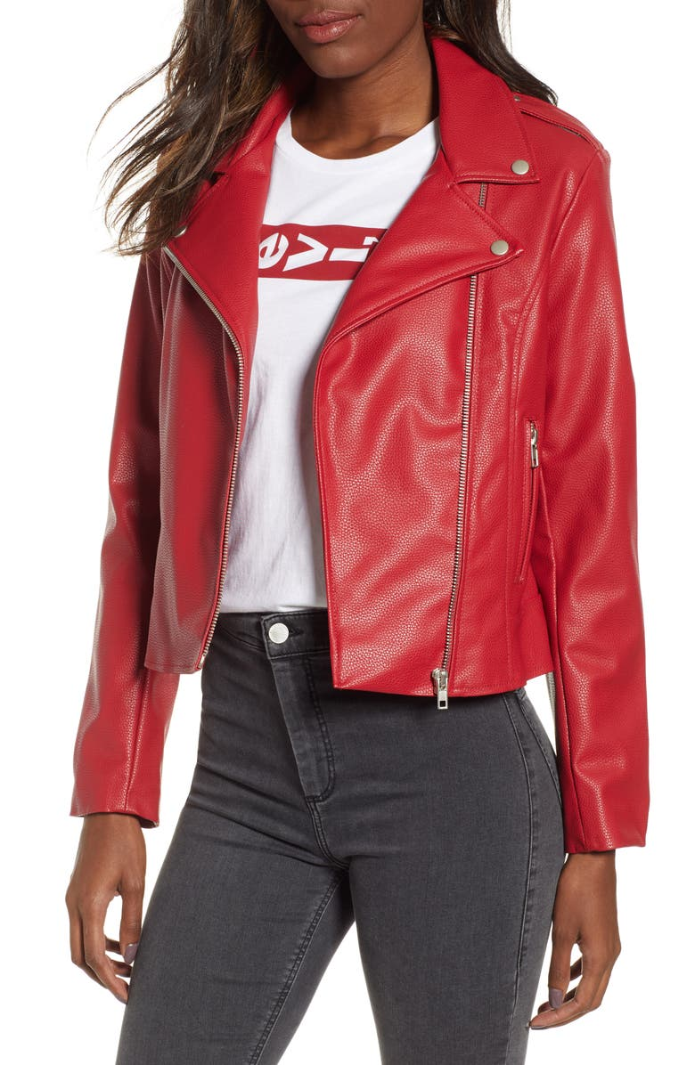 BB DAKOTA BY STEVE MADDEN BB Dakota Beverly Thrills Faux Leather Jacket, Main, color, SCOOTER RED