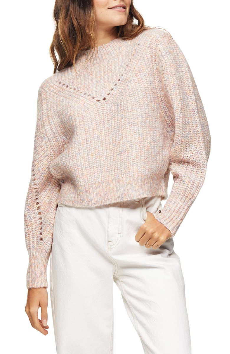 TOPSHOP Pointelle Mock Neck Sweater, Main, color, PINK MULTI
