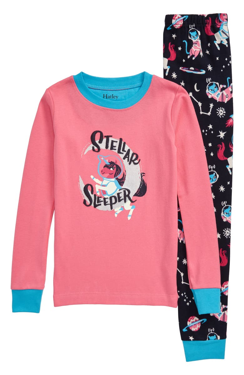HATLEY Enchanted Space Fitted Organic Cotton Two-Piece Pajamas, Main, color, 650