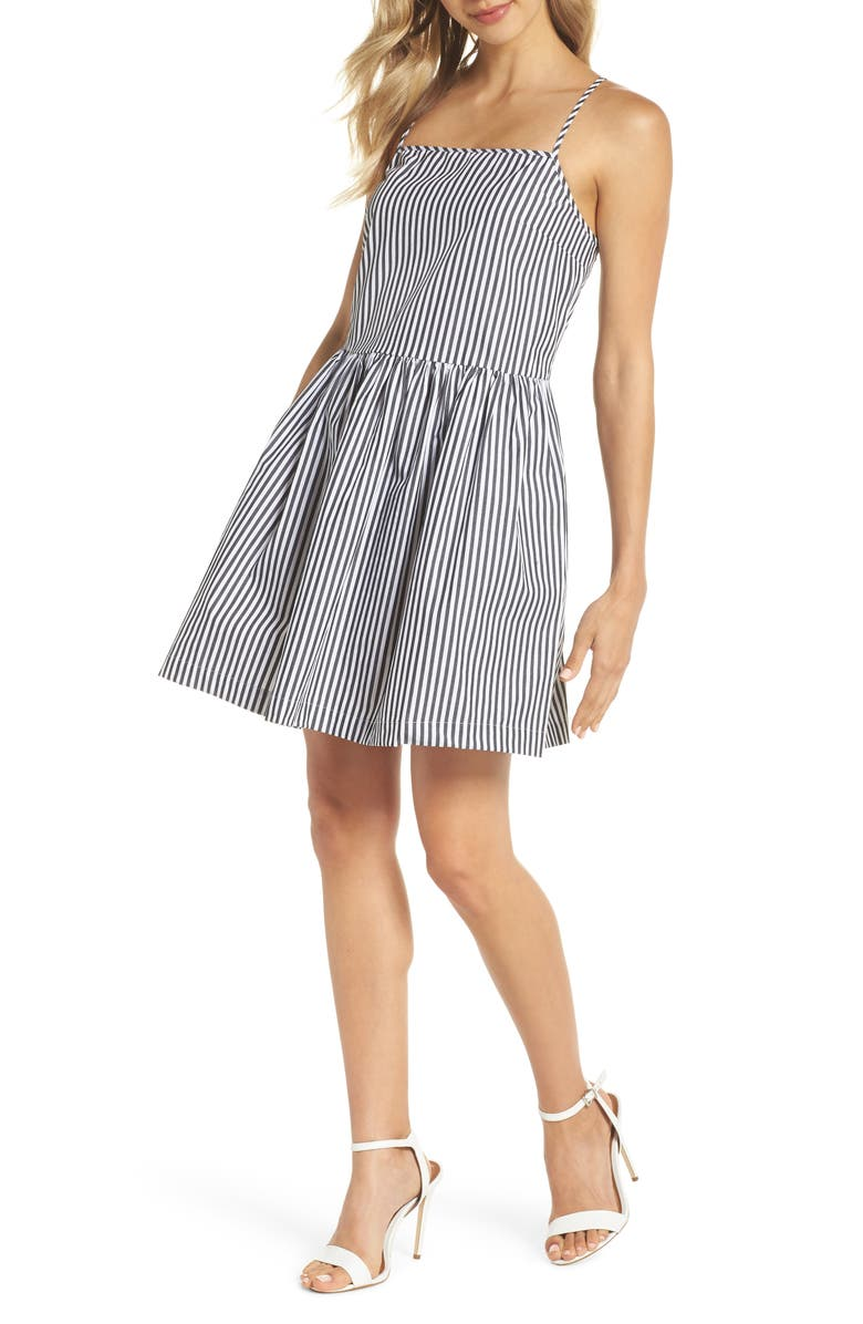 FRENCH CONNECTION Sardinia Stripe Cotton Sundress, Main, color, BLACK/ SUMMER WHITE