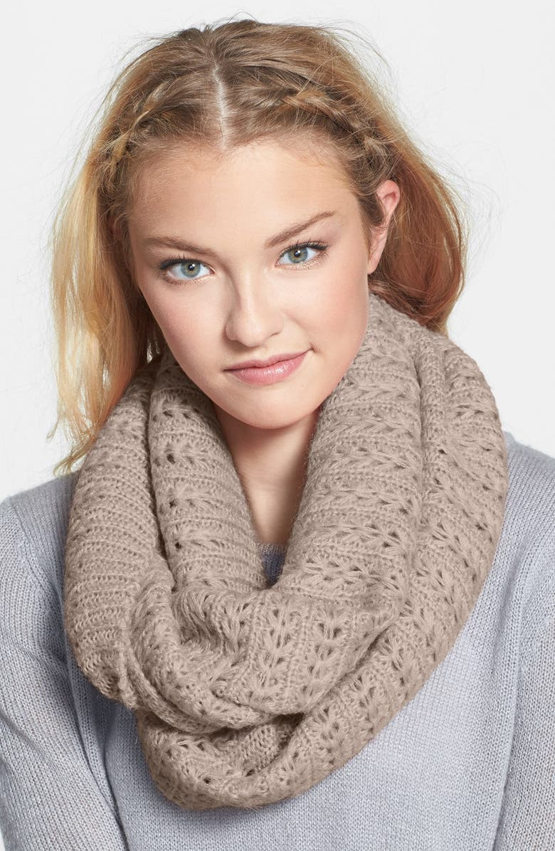 BP. Chevron Pointelle Infinity Scarf, Main, color, TAUPE