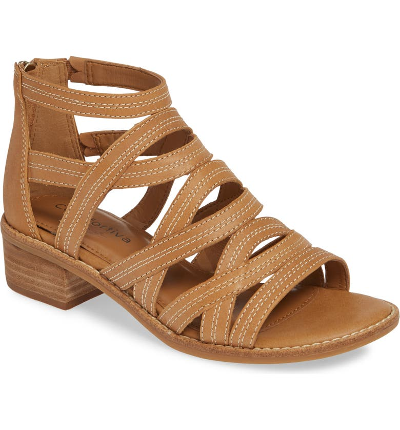 COMFORTIVA Betha Sandal, Main, color, NEW CARAMEL LEATHER