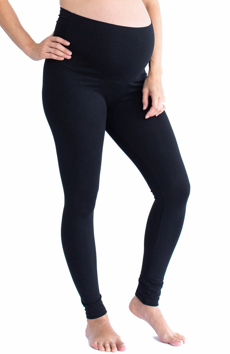 ANGEL MATERNITY High Waist Maternity Leggings, Main, color, BLACK