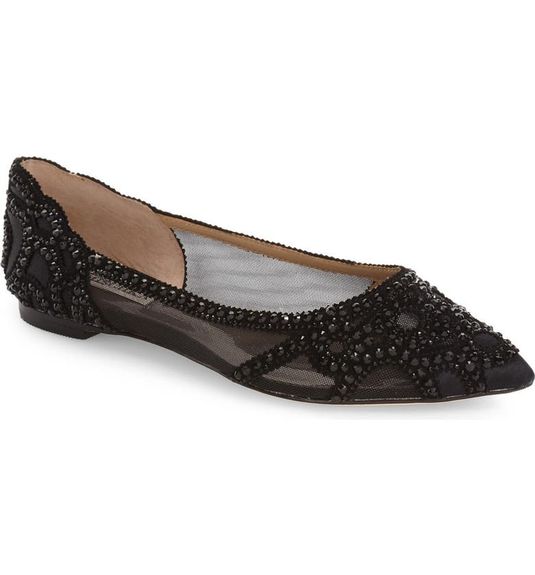 BADGLEY MISCHKA COLLECTION Badgley Mischka Gigi Crystal Pointed Toe Flat, Main, color, BLACK SATIN
