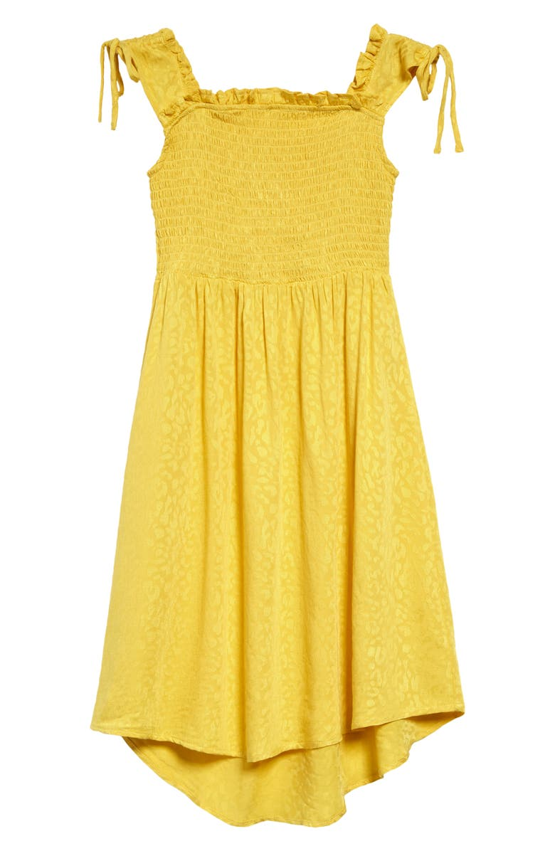 TEN SIXTY SHERMAN Kids' Smocked Tie Sleeve Dress, Main, color, YELLOW