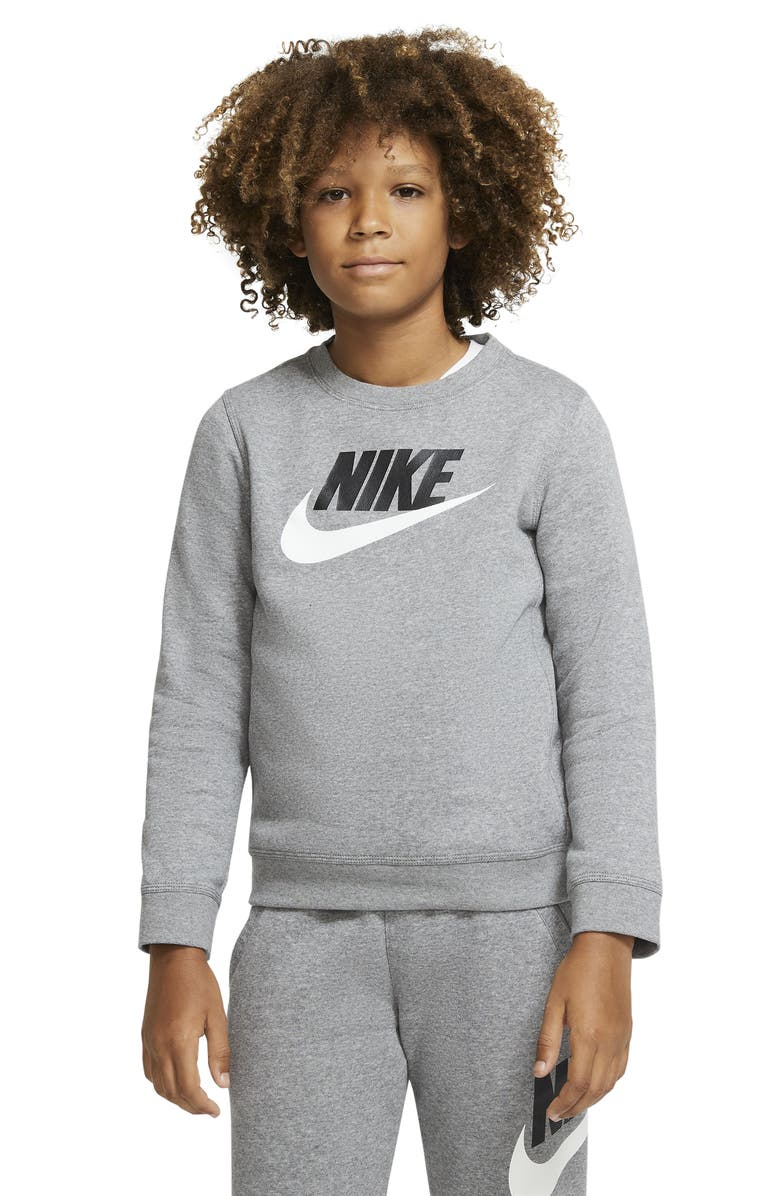 NIKE Kids' Sportswear Logo Graphic Fleece Sweatshirt, Main, color, CARBON HEATHER