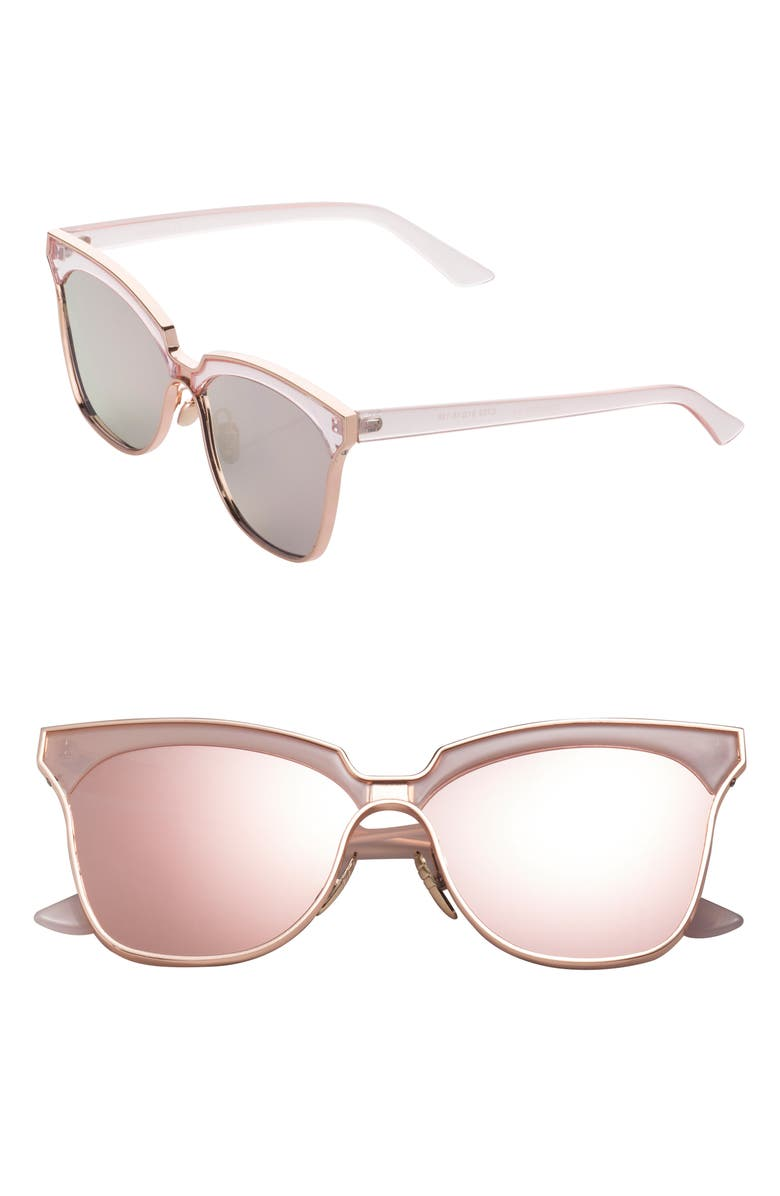 SUNNYSIDE LA 61mm Mirorred Butterfly Sunglasses, Main, color, PINK/ GOLD