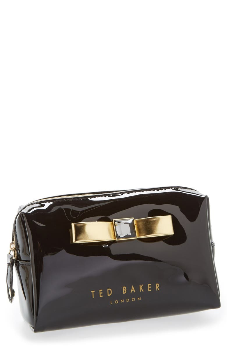 TED BAKER LONDON 'Metallic Bow' Cosmetics Case, Main, color, 001