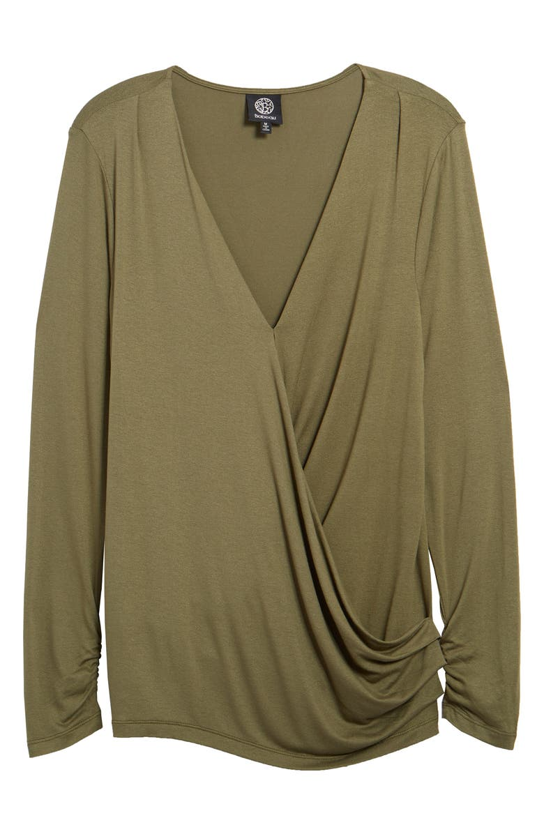 BOBEAU Faux Wrap Knit Top, Main, color, OLIVE