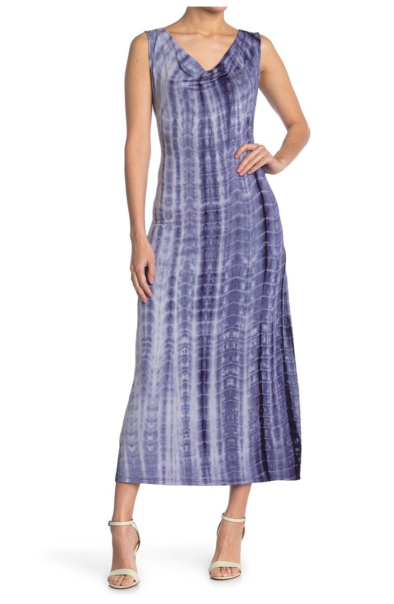 TASH AND SOPHIE Tie-Dye Cowl Neck Sleeveless Maxi Dress, Main, color, NVY