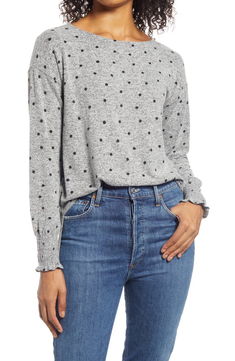 LUCKY BRAND Smock Cuff Jersey Top, Main, color, POLKA DOTS