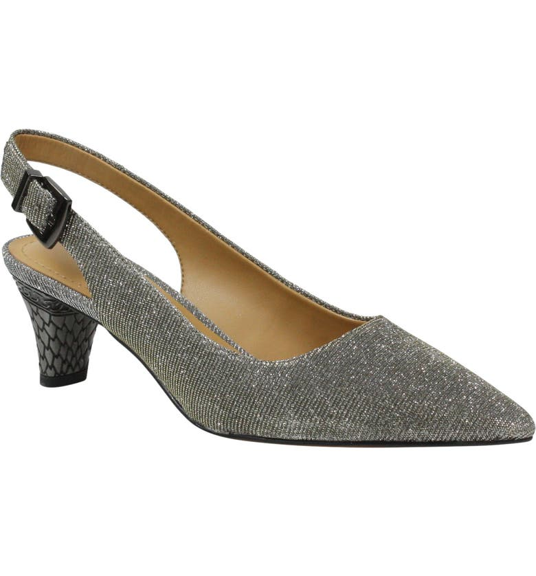 J. RENEÉ Mayetta Slingback Pump, Main, color, PEWTER GLITTER FABRIC