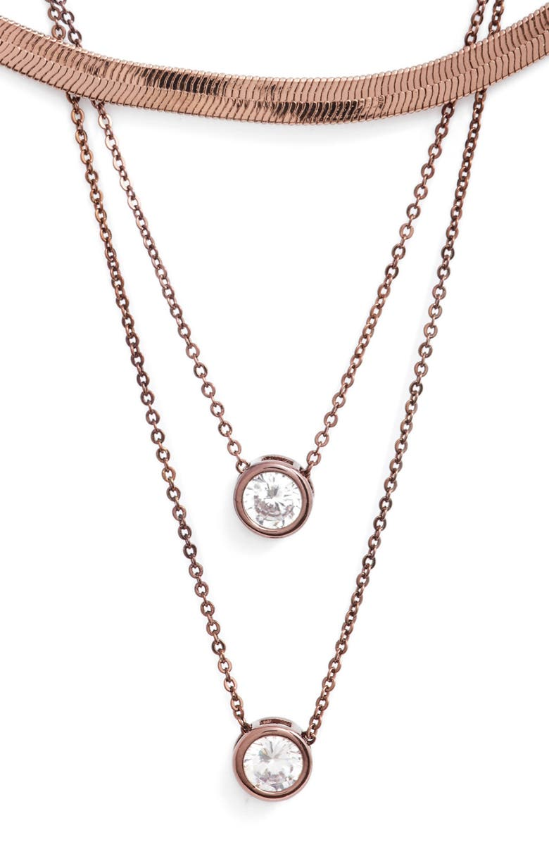 8 OTHER REASONS x Draya Michele Gems for Her Triple Layer Necklace, Main, color, CHOCOLATE GOLD