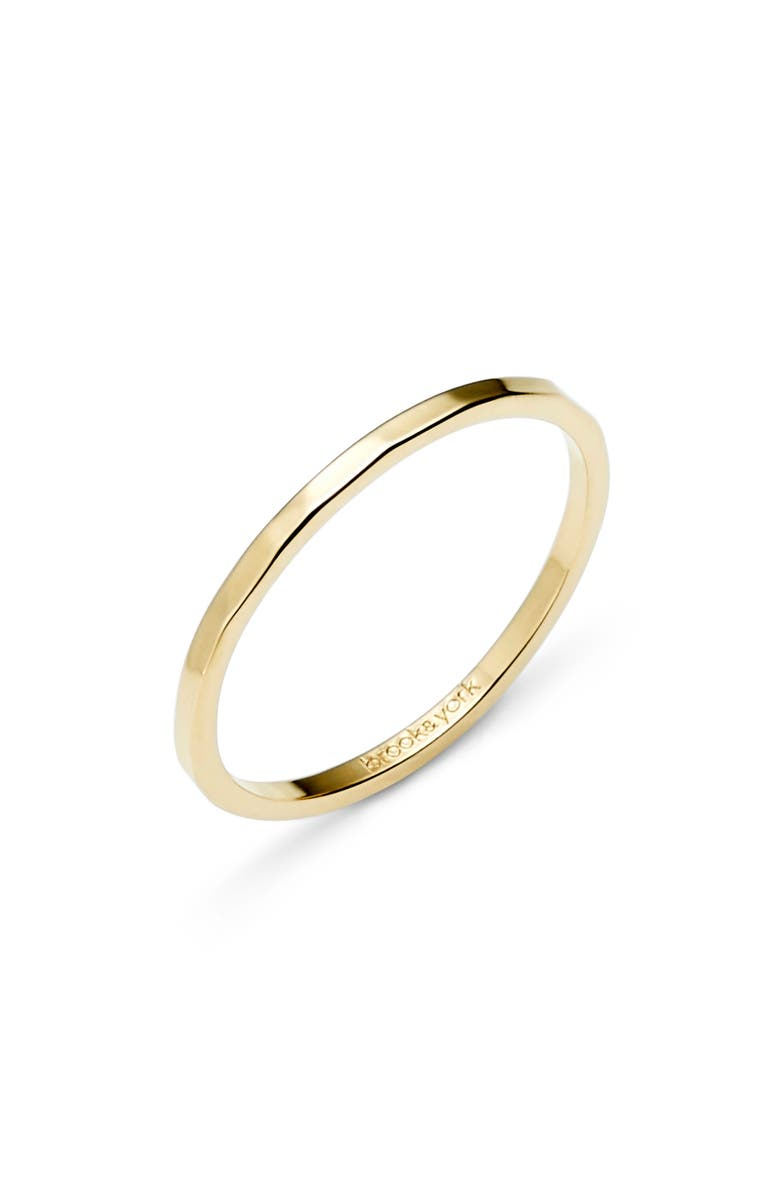 BROOK AND YORK Maren Extra Thin Hammered Stacking Ring, Main, color, GOLD