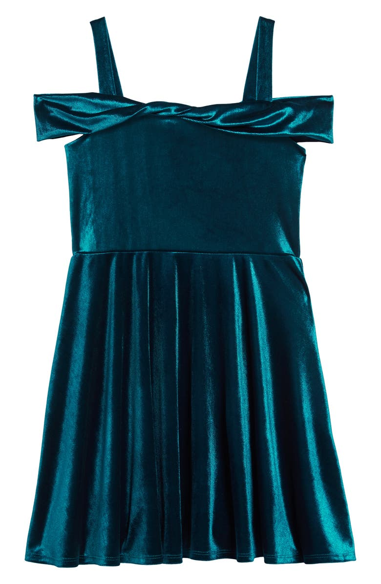 AVA & YELLY Marlyn Twist Front Velvet Dress, Main, color, 440